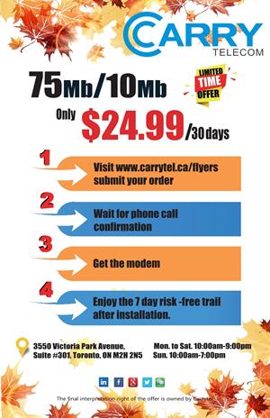 Carrytel] (ON/Rogers) 75M/150M UNLTD internet $24 99/75M