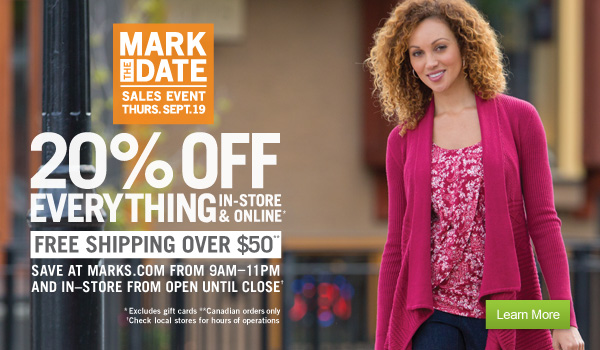 872dd072725 [Marks Works Wearhouse] Mark's 20% off in-store & online Thurs. Sept. 19