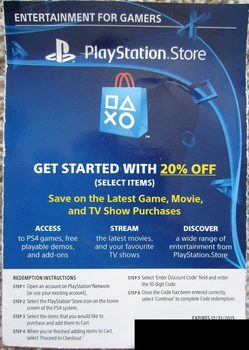 Playstation store 20% OFF DISCOUNT CODE for $6 75US