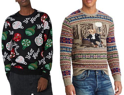 hudsons bay has a variety of knits from different brands that range from wearable to downright tacky the price range varies but you can find sweaters