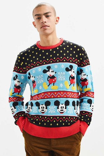 urban outfitters has a few ugly christmas sweaters available featuring beloved characters like mickey mouse and the grinch as well as sweaters with regular