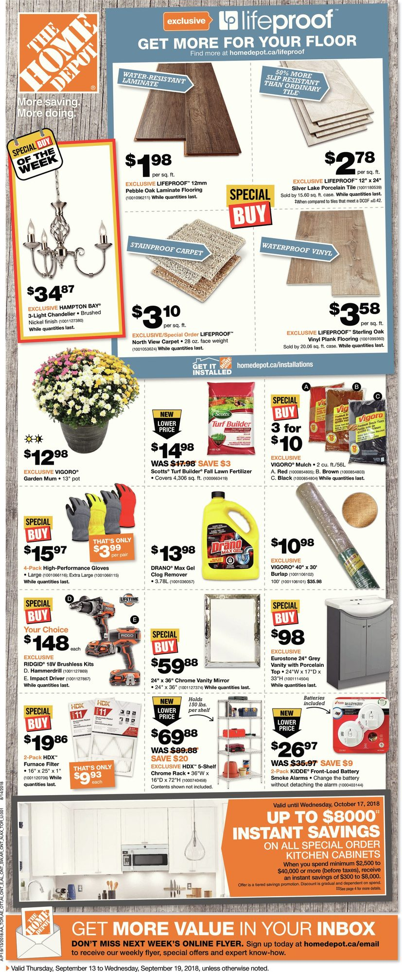 Weekly - Home Depot September 13 2018 | YP Shopwise