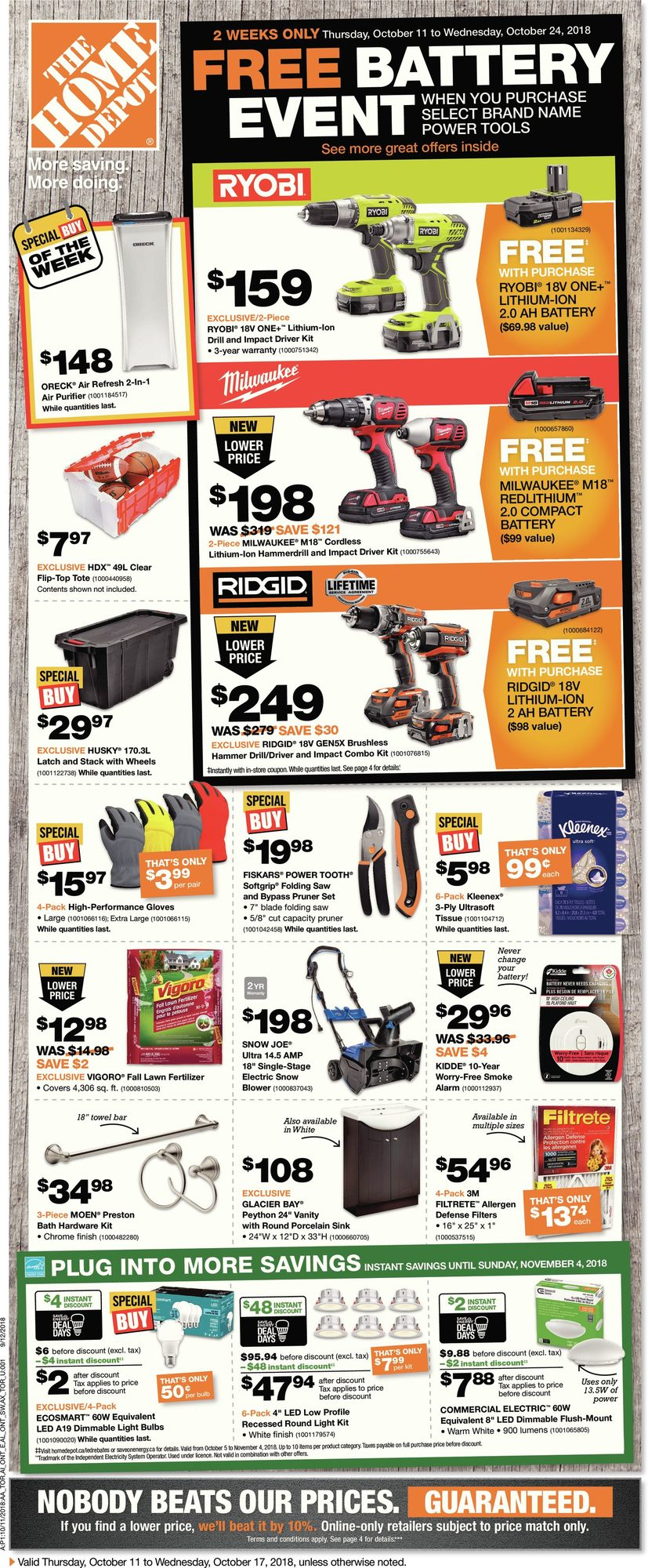 Weekly - Free Battery Event - Home Depot October 11 2018