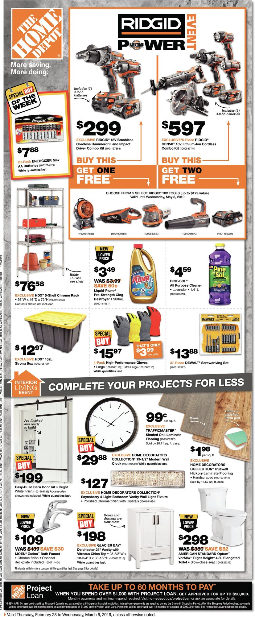 Weekly - Ridgid Power Event - Home Depot February 28 2019