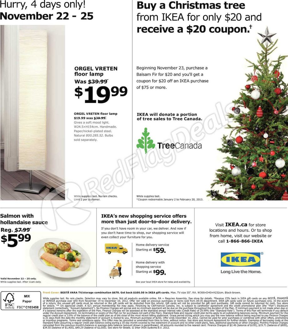 Deal Costco Canada Online Offers Valid From Feb 28 To Mar: IKEA: $20 Off $75+ Coupon W/ Christmas Tree Purchase