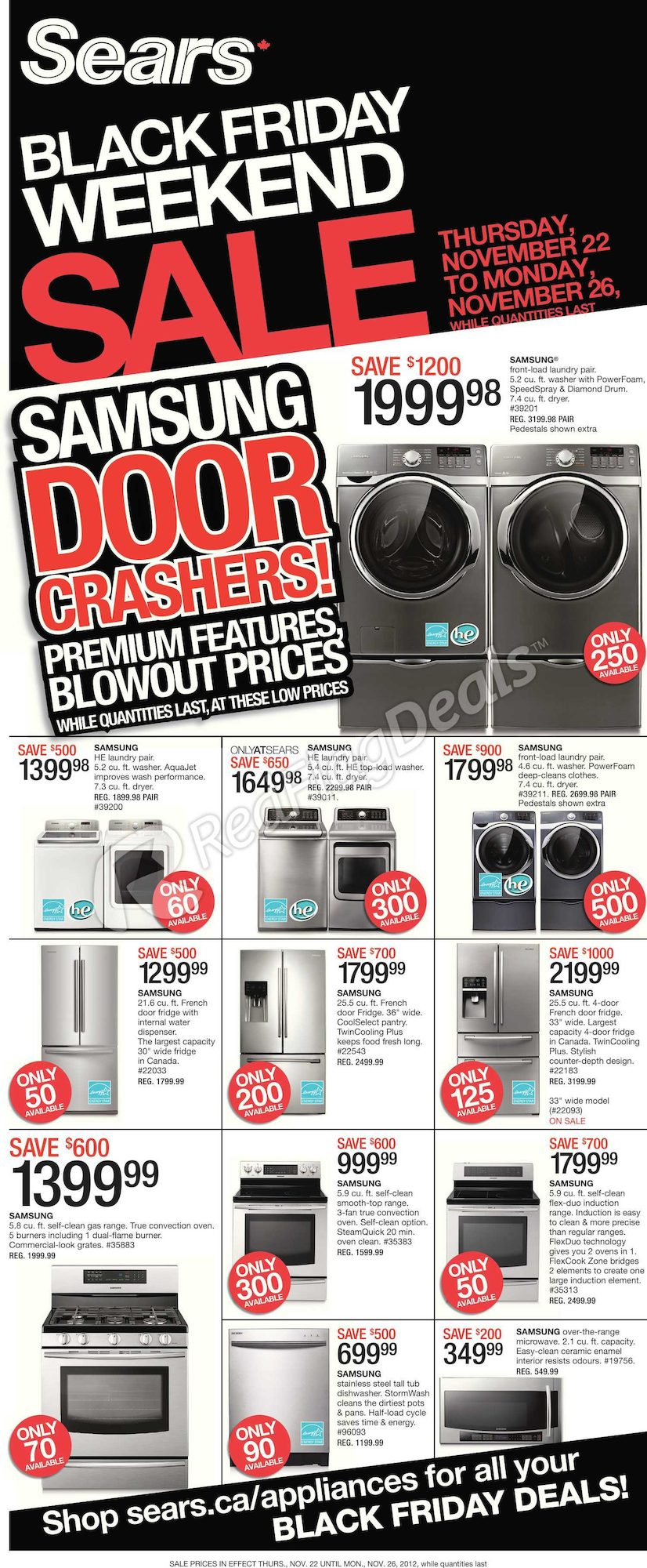 Sears Weekly Flyer Black Friday Home Appliance Sale