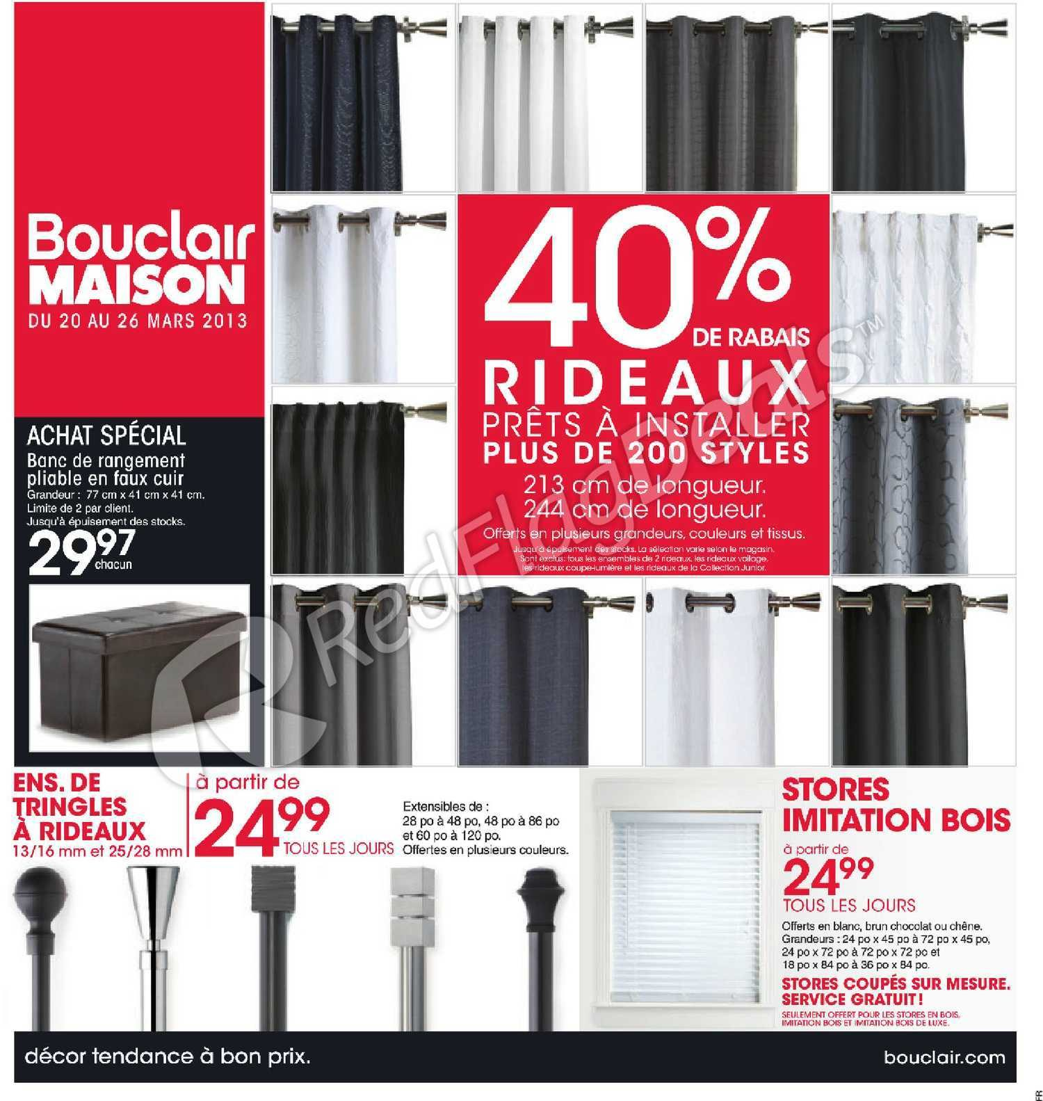 bouclair weekly flyer 40 de rabais rideaux pr ts. Black Bedroom Furniture Sets. Home Design Ideas