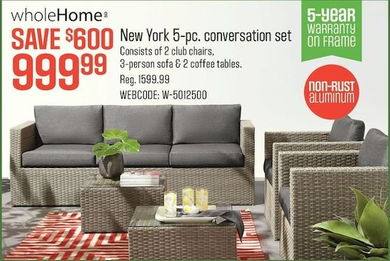 Wholehome New York 5 Piece Deep Seating Conversation Patio Set Yp Ca