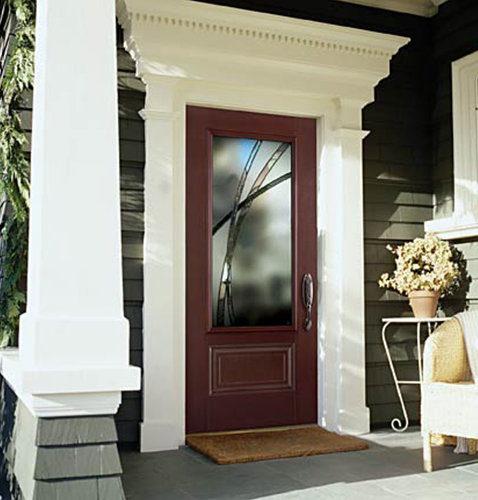 Masonite Belleville Hollister Mahogany 3/4 Lite Entry Door