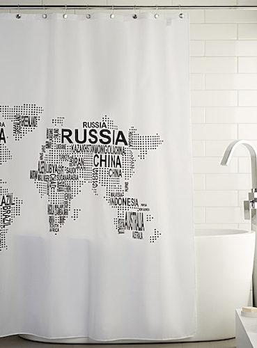 Le rideau de douche carte du monde - Rideau de douche carte du monde ...