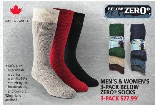 3d89f4b2712d0 Below Zero Men's & Women's 3-Pack Below Zero Socks | YP.ca