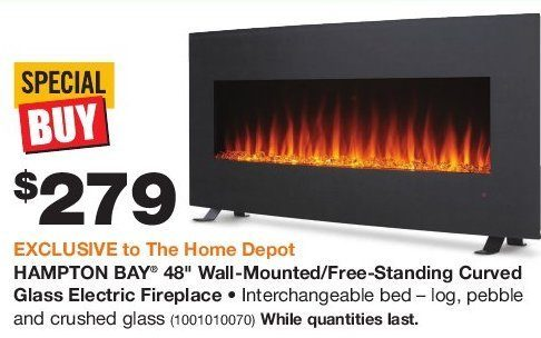 Hampton Bay 48'' Wall-Mounted/Free-Standing Curved Glass Electric ...