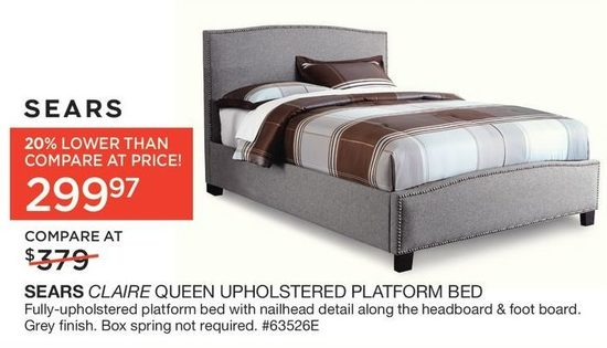 sears claire queen upholstered platform bed | yp.ca