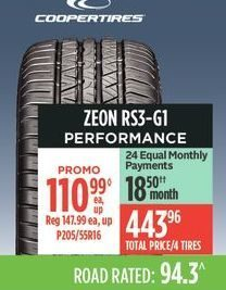 Coopertires Zeon RS3-G1 Performance Tire